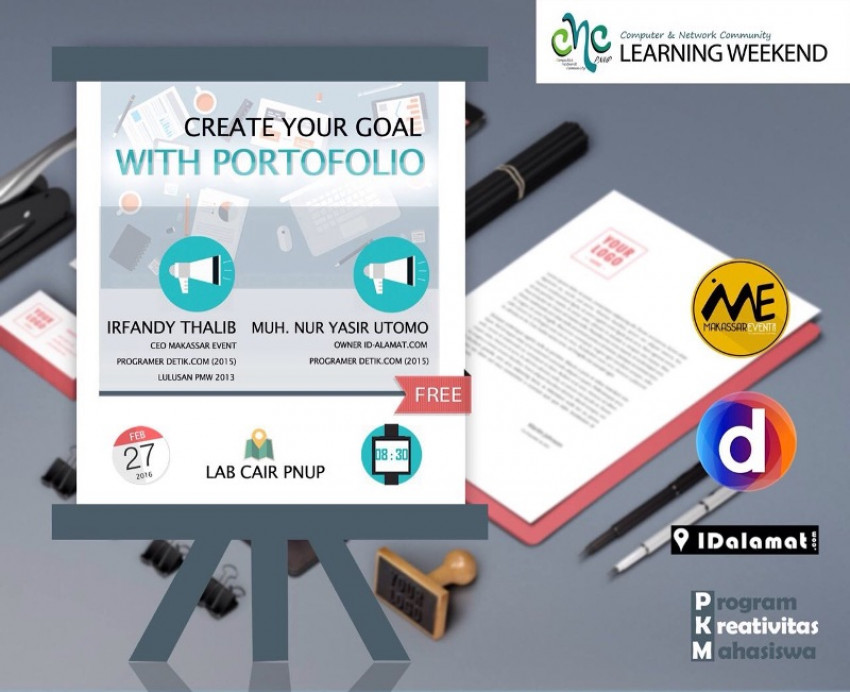 sharing membuat portofolio pada learning weekend cnc