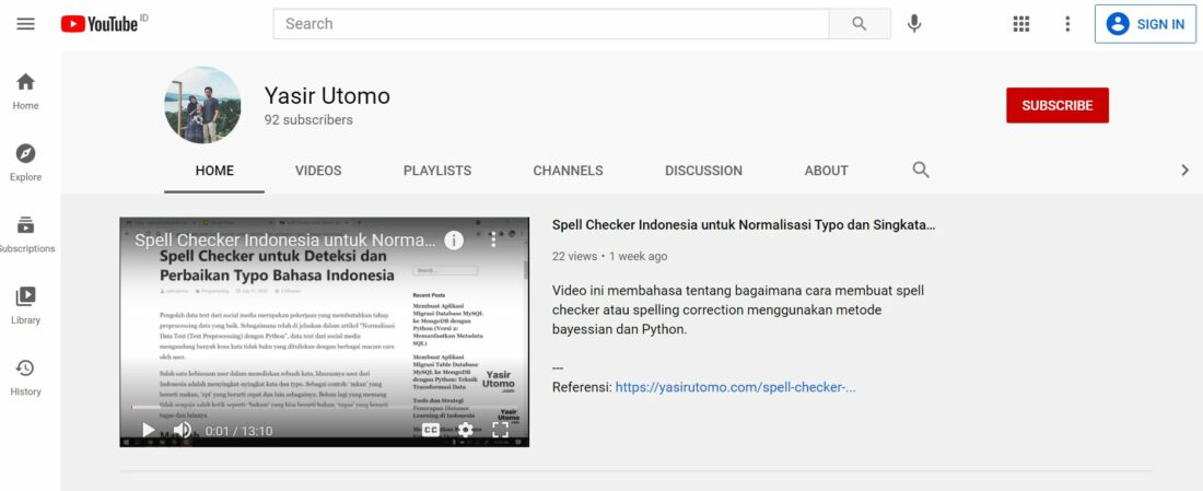 channel youtube yasir utomo